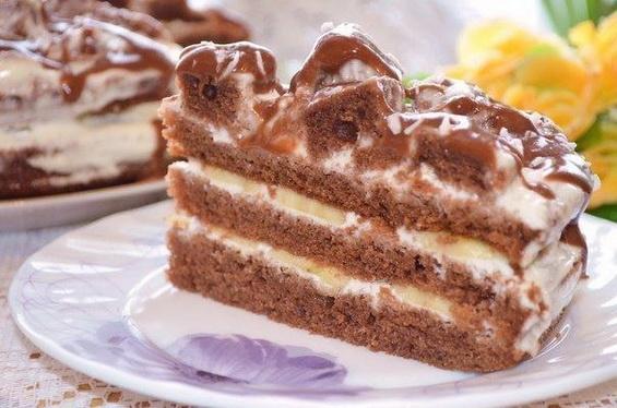 Простой шоколадно-банановый торт
