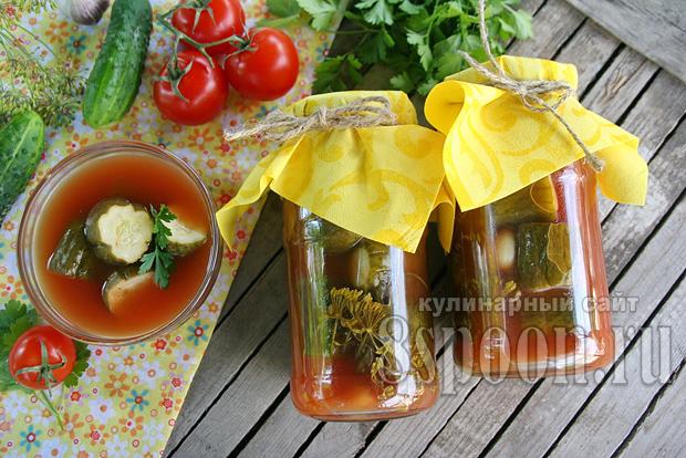 Маринованные огурцы с томатной пастой на зиму_1