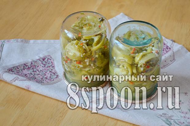 Зеленые помидоры на зиму с чесноком и острым перцем «Кобра»_7