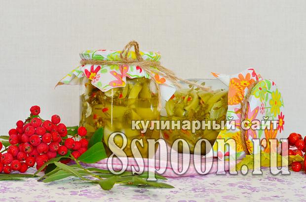 Зеленые помидоры на зиму с чесноком и острым перцем «Кобра»_8