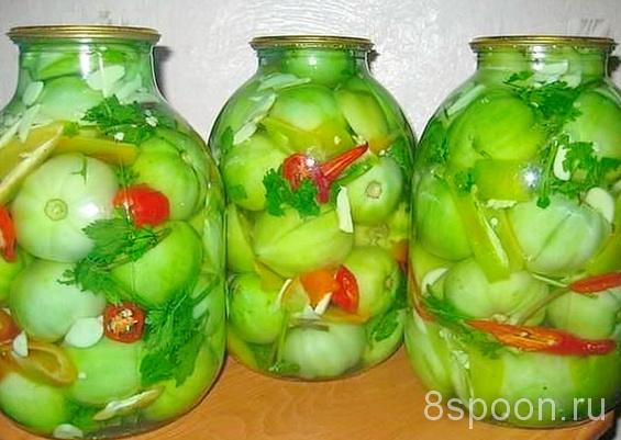 Зеленые помидоры на зиму с водкой