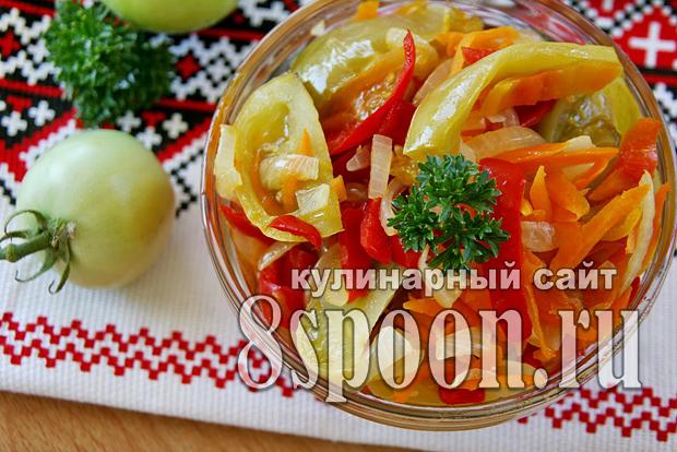 Салат из зеленых помидор на зиму «Краски осени»_9