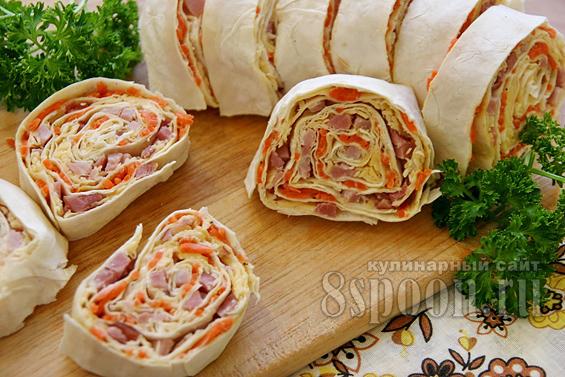 рулет из лаваша с корейской морковью фото 14
