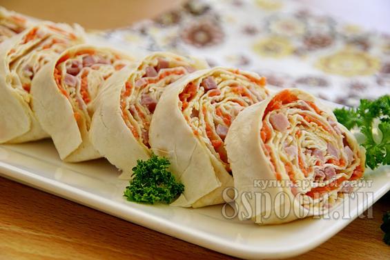 рулет из лаваша с корейской морковью фото 16