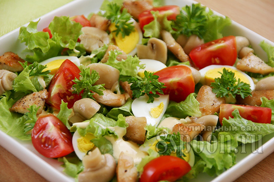 Салат с курицей и грибами фото 12