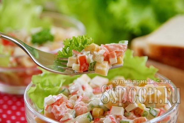 салат с крабовыми палочками и кукурузой фото 10