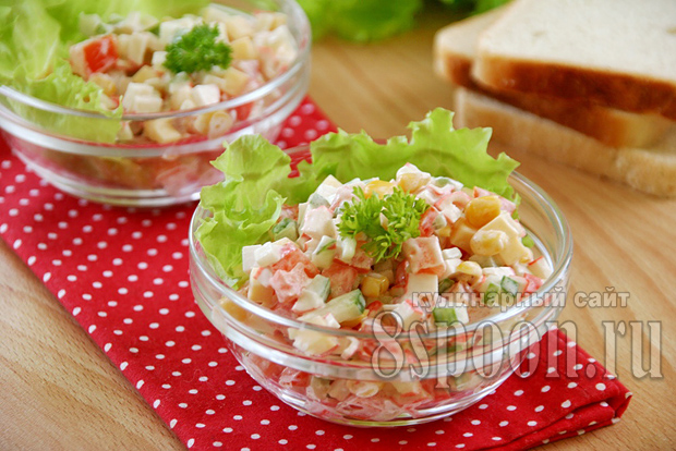 салат с крабовыми палочками и кукурузой фото 12
