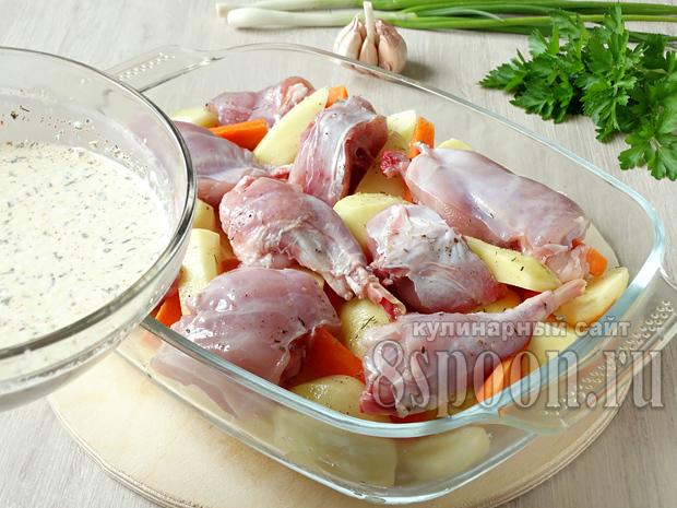 Как запечь кролика целиком в духовке в рукаве с картошкой