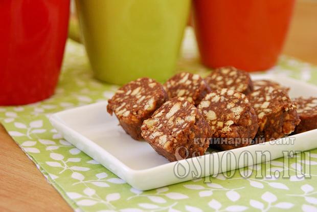 Сладкая колбаска из печенья и какао фото, фото рецепт Сладкой колбаски из печенья и какао