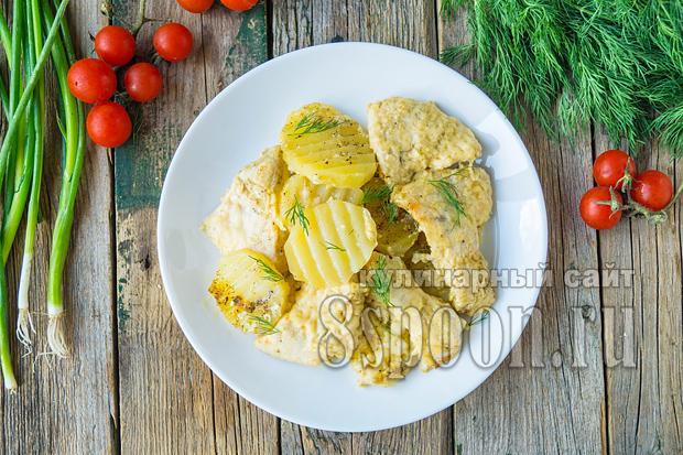 Куриная грудка с картошкой в духовке фото_8