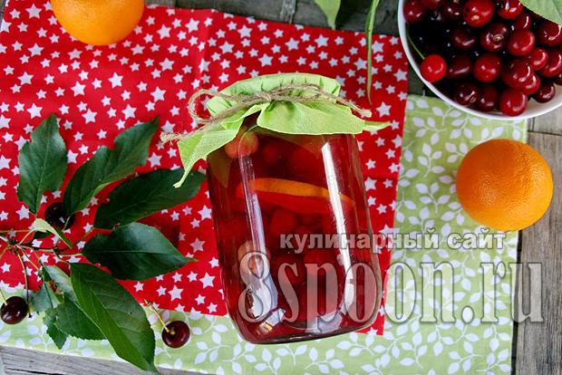 Компот из вишни с апельсином фото 9