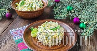 Салат с кальмарами и яйцом и огурцом