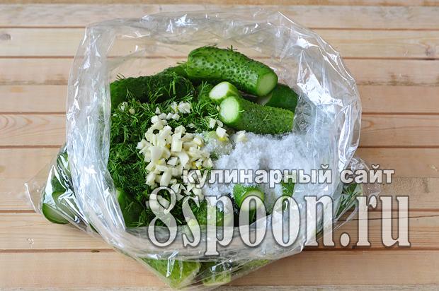 Малосольные огурцы в пакете рецепт с фото _3