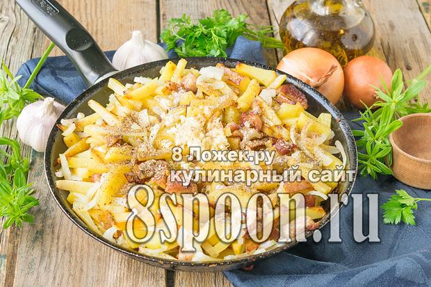 Жареная картошка с мясом на сковороде фото_04