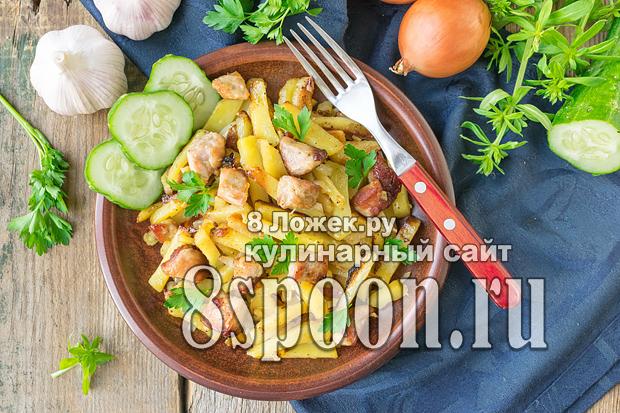 Жареная картошка с мясом на сковороде фото_05