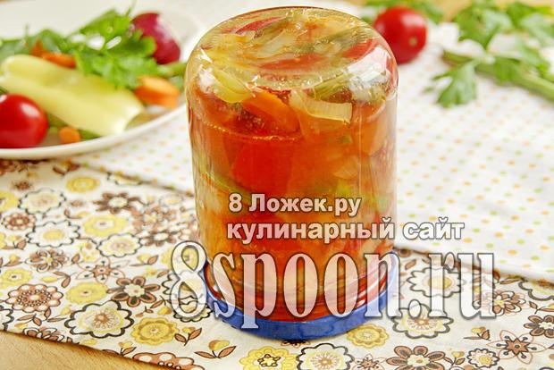 Салат из стручковой фасоли на зиму с овощами фото_08