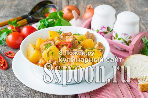 Тушеный картофель с мясом в мультиварке фото, фото рецепт Тушеного картофеля с мясом в мультиварке