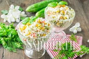 Крабовый салат с капустой и кукурузой фото