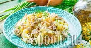 Жареная картошка с фаршем фото