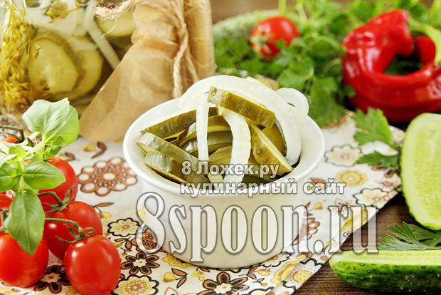Салат из огурцов на зиму с луком фото