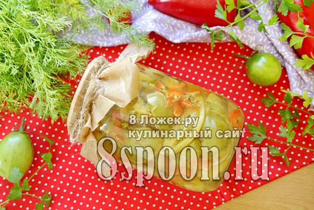 Зеленые помидоры дольками на зиму фото