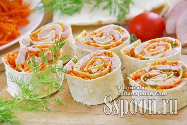 лаваш с морковью и колбасой 10