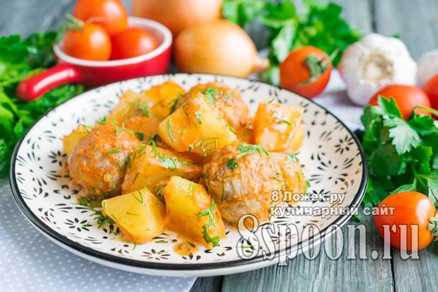 Тефтели в духовке с подливкой и картошкой