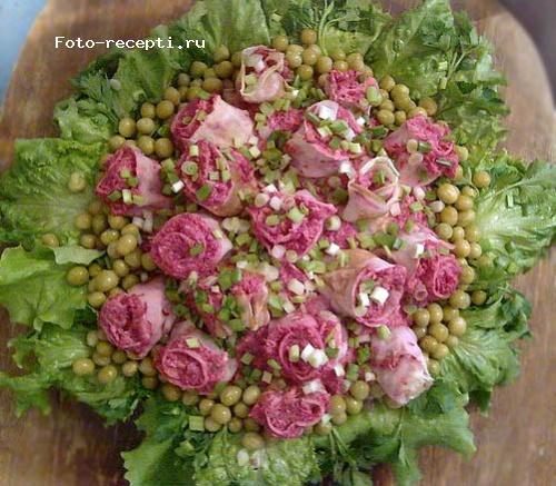 Салат розовый букет с фото