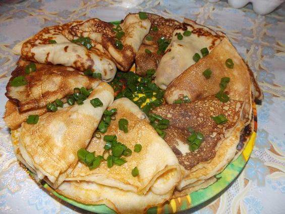 Блинчики с грибами (Тесто для блинов на кефире)