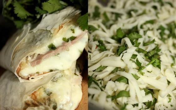 Лаваш с сыром Сулугуни (не копченым) и кинзой) в духовке