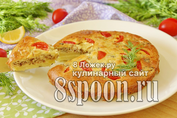 Пирог с рыбными консервами и картошкой фото  _03
