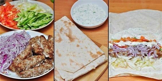 Собираетесь на пикник? Тогда вы просто обязаны приготовить это простое и вкусное блюдо из лаваша. Колбаски люля – кебаб получаются сочными и ароматными. А в сочетании со свежими овощами получаем полноценное блюдо для пикника. Люля кебаб и соус можно сделать дома, а на природе все ингредиенты красиво завернуть в лаваши.  Ингредиенты: Лаваш Огурцы свежие, нарезанные соломкой Помидоры свежие, нарезанные брусочками Капуста нашинкованная Лук красный, нарезанный полукольцами Для люля-кебаб: Фарш бараний(говяжий) - 0,5 кг. Лук репчатый - 2 шт.(большие) Уксус эессенция - 1 ч.л., Соль, перец красный молотый, перец черный молотый Для йогуртового соуса: Йогурт густой - 200 мл., Чеснок - 1 зуб., Черный молотый перец Зира (по желанию)- щепотка  Приготовление: 1. Готовим сначала люля: В фарш положить лук, мелко нарезанный, посолить, поперчить, добавить уксус. Тщательно перемешать, оставить мариноваться на час-пол-тора. Налепить колбаски, положить на противень, застеленный фольгой, и смазать их сверху растительным маслом. Запекать в нагретой духовке, при 220-230 гр. - 15-20 минут, до румяной корочки. 2. Пока маринуются и жарятся люля, нарезаем огурцы и помидоры соломкой. Капусту нашинковать, помять немного. Красный лук репчатый нарезать тонкими полукольцами. 3. Для чесночного соуса, в йогурт выдавить зубчик чеснока, поперчить, при желании добавить растертую в ладони щепотку зиры. 4. Лаваш смазать соусом, положить 1-2 шт. люля-кебаб, положить туда все овощи (по вкусу), сверху смазать ещё немного соусом, завернуть лаваш и тут же есть!