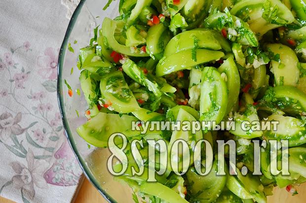 Зеленые помидоры на зиму с чесноком и острым перцем «Кобра»_4