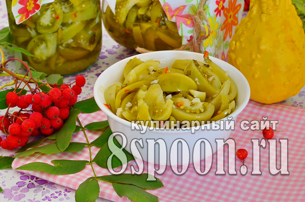 Зеленые помидоры на зиму с чесноком и острым перцем «Кобра»_9