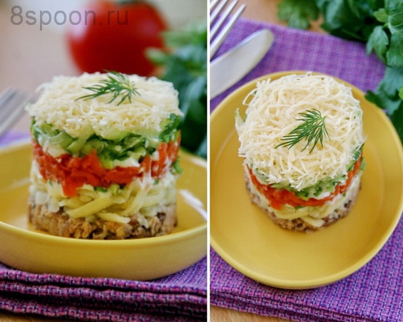слоеный салат с сардиной фото 16