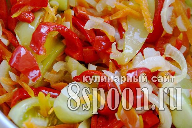 Салат из зеленых помидор на зиму «Краски осени»_6