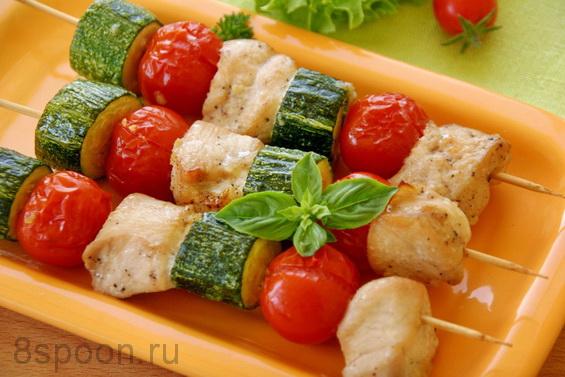 куриные шашлычки с помидорами и кабачками в духовке фото 10