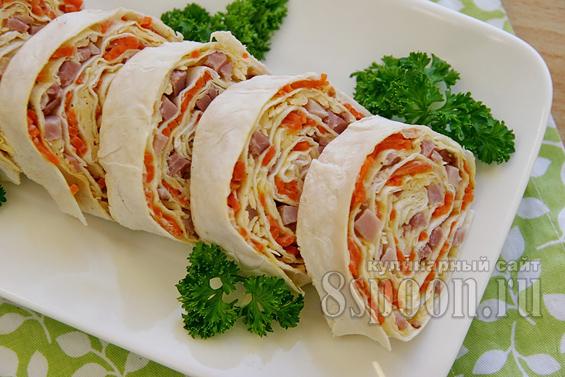 рулет из лаваша с корейской морковью фото 20