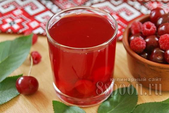 Компот из ягод на зиму (вишня и малина)