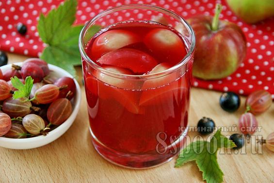 Компот из ягод на зиму с яблоками