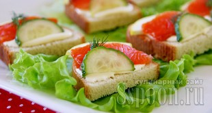 Бутерброды с красной рыбой и огурцом фото 8