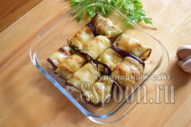 Рулетики из баклажанов с сыром и чесноком- рецепт с фото _10