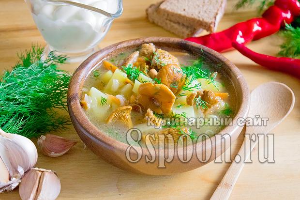 Суп из замороженных лисичек пошаговый рецепт