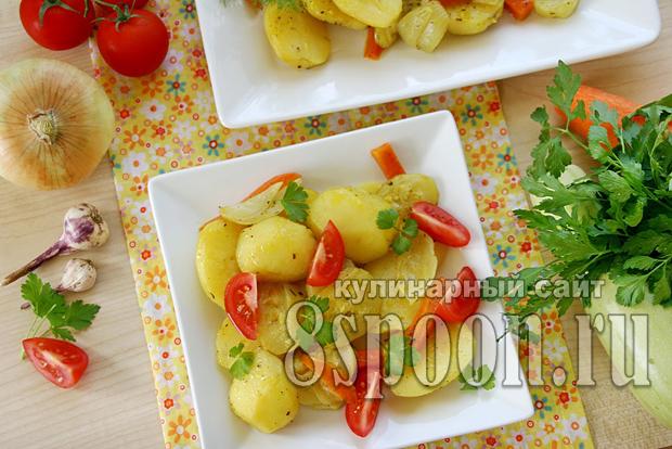 Картошка в духовке с кабачками _5