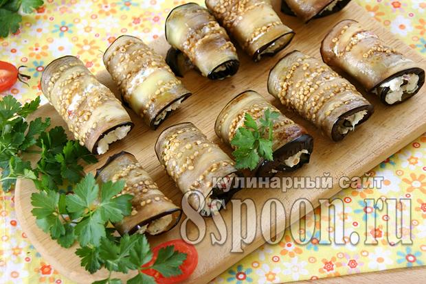 Рулетики из баклажанов с творогом и чесноком фото_03