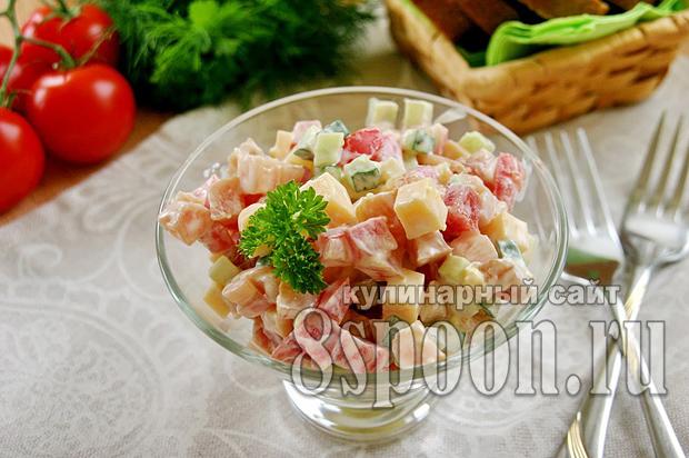 Салат с копченой курицей рецепт с фото _9