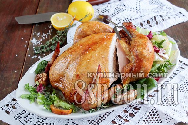курица целиком фаршированная в духовке рецепт целиком