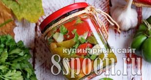 Печеный перец на зиму с чесноком и зеленью_10