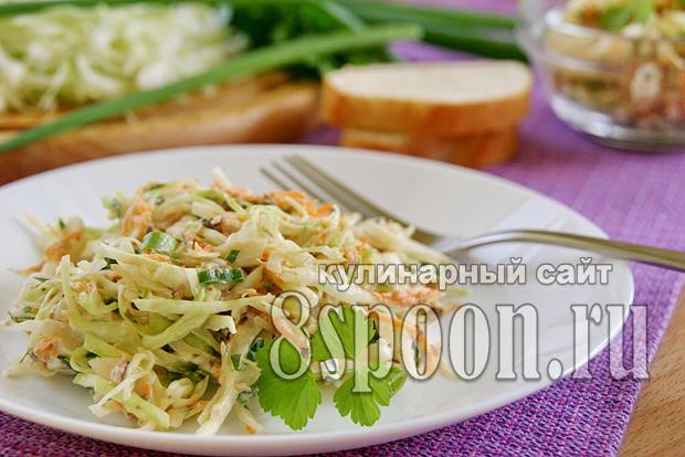 Салат из рыбных консервов с капустой