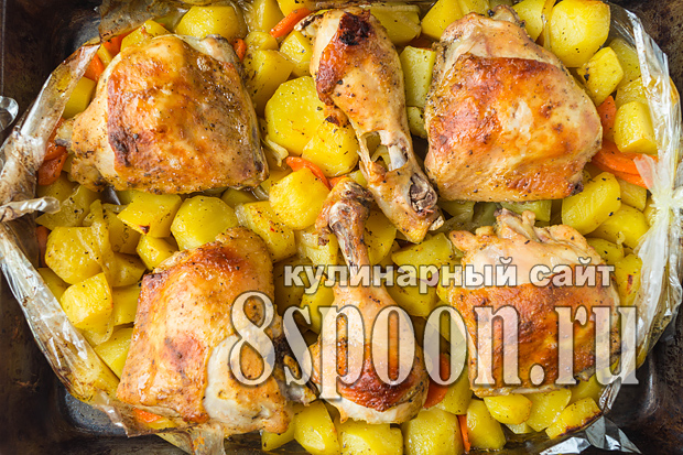Курица с картошкой в рукаве в духовке фото_03